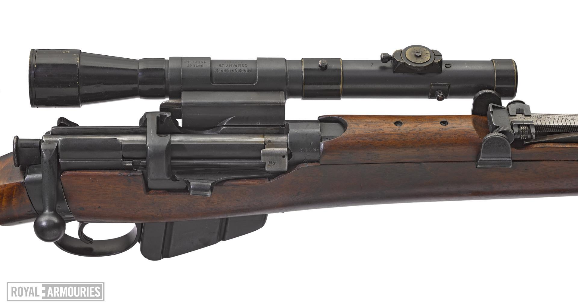 Centrefire bolt-action sniper rifle - Short, Magazine Lee-Enfield (SMLE) rifle Mark III fitted_with Periscopic Prism (PPCo) telescope (about 1916) copy.jpg