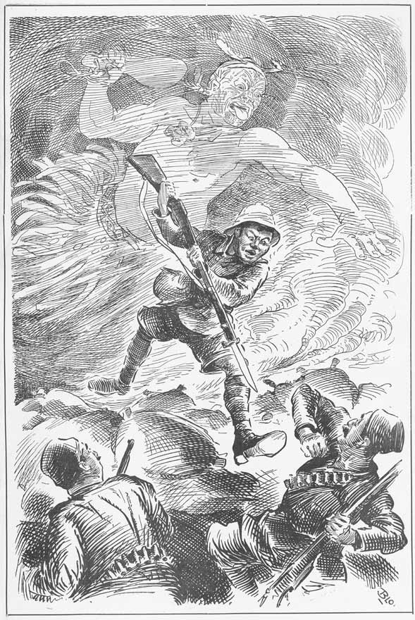 'The spirit of his fathers', by William Blomfield, a propaganda poster depicting a Maori soldier fighting the Turks in 1915 with a ghostly Maori warrior behind him. An effort to evoke the warrior spirit and encourage more Maori to join the war effort.