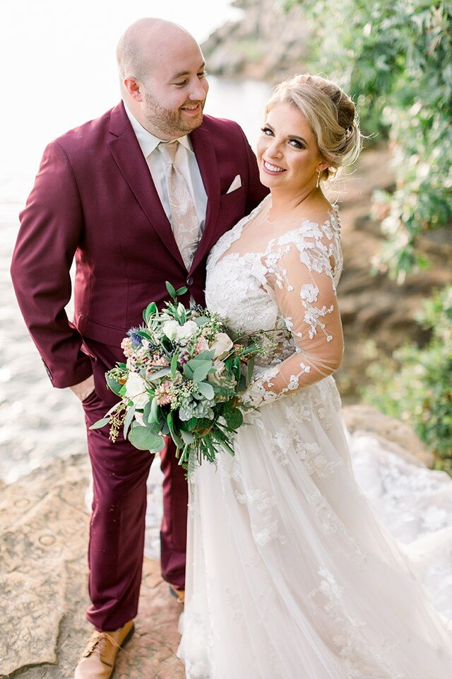 """Mara + alex - """"Maggie at Thistles was absolutely amazing to work with! She responded quickly to emails and brought my vision to life based off of one single Pinterest photo. She made my wedding look magical with her floral creations! Everyone commented on how beautiful the flowers were!"""" - Mara P. [Brooke Pavel Photography - 2019]"""