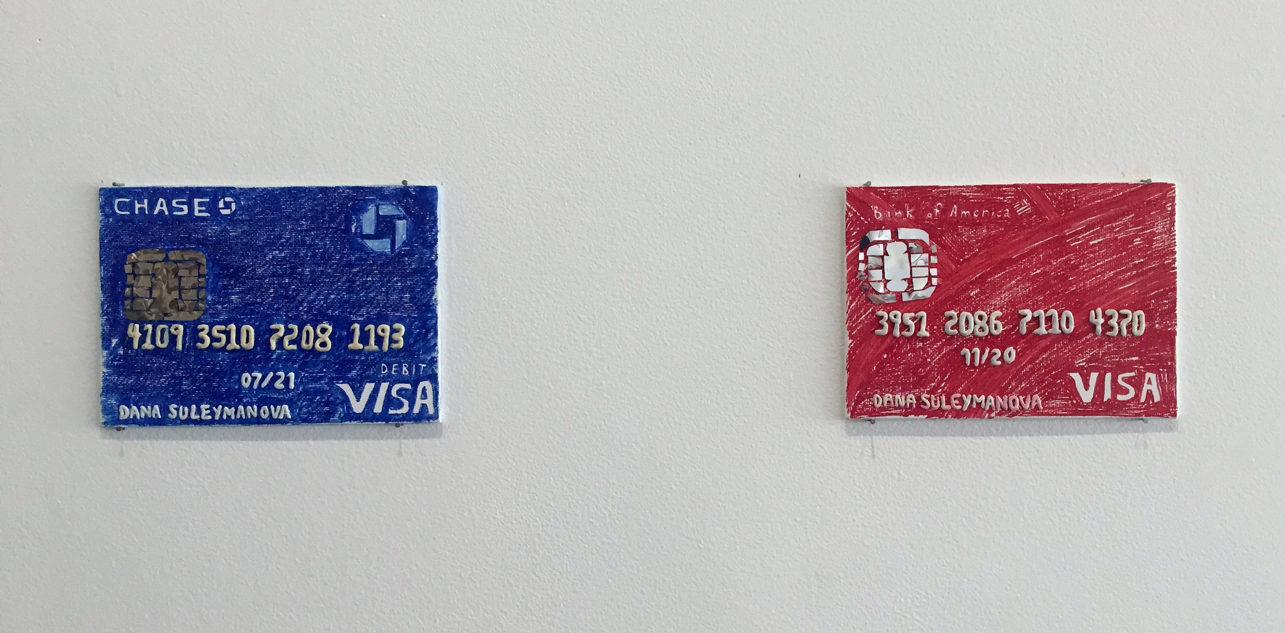 credit or debit , canvas board, sharpie, mylar, plasticine, 2018