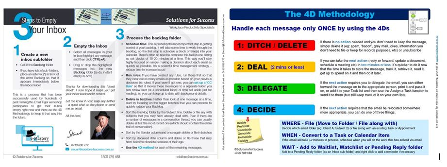 Cheat sheets - 3 Ways to Empty Your Inbox and the 4D Methodology.JPG