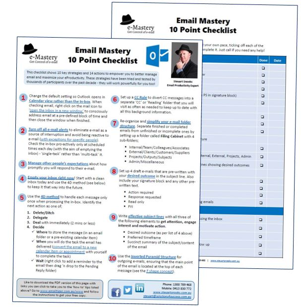 Outlook - e-mastery 10 Point Checklist