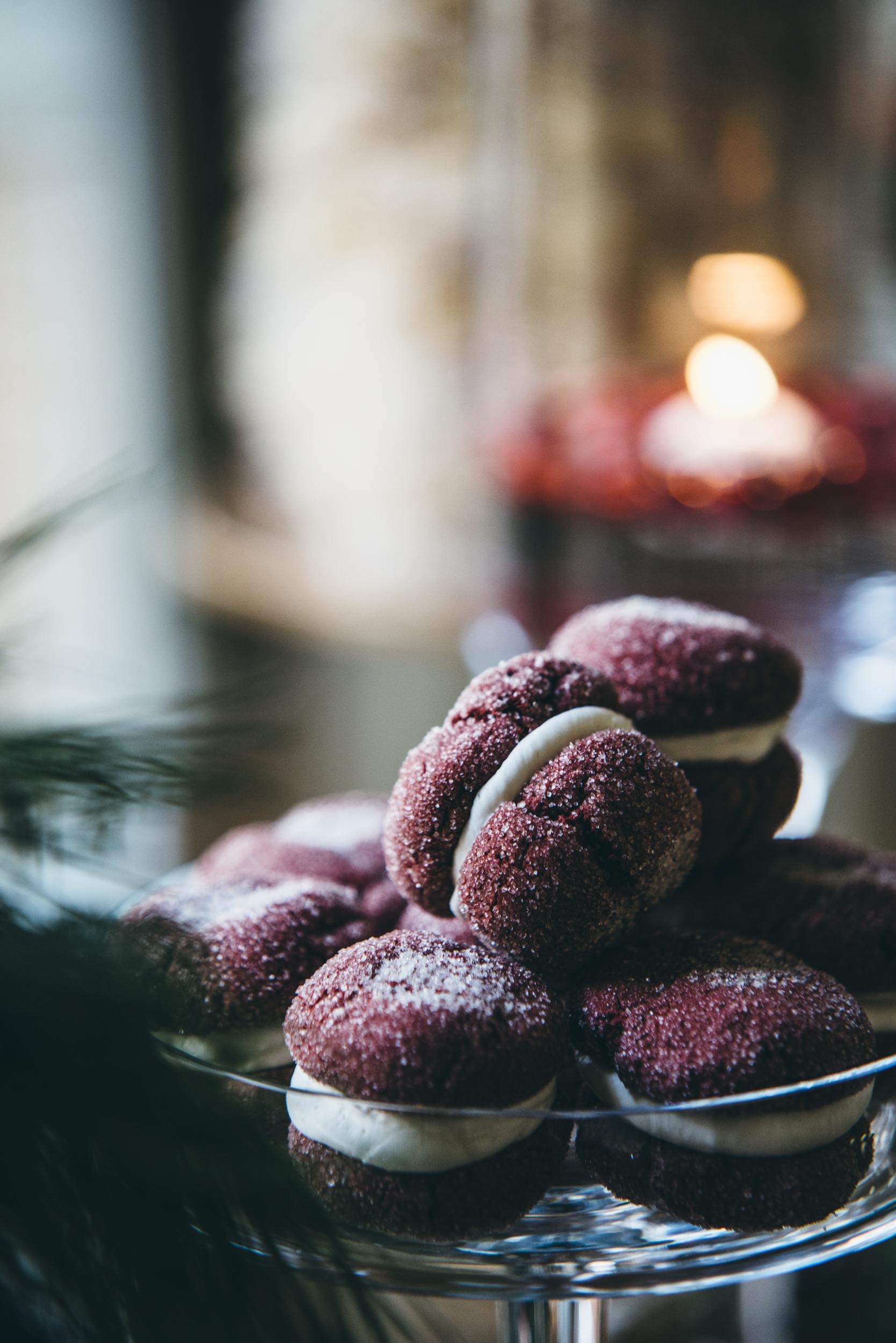 Red velvet crackle cookies - – raw sugar, cream cheese buttercream
