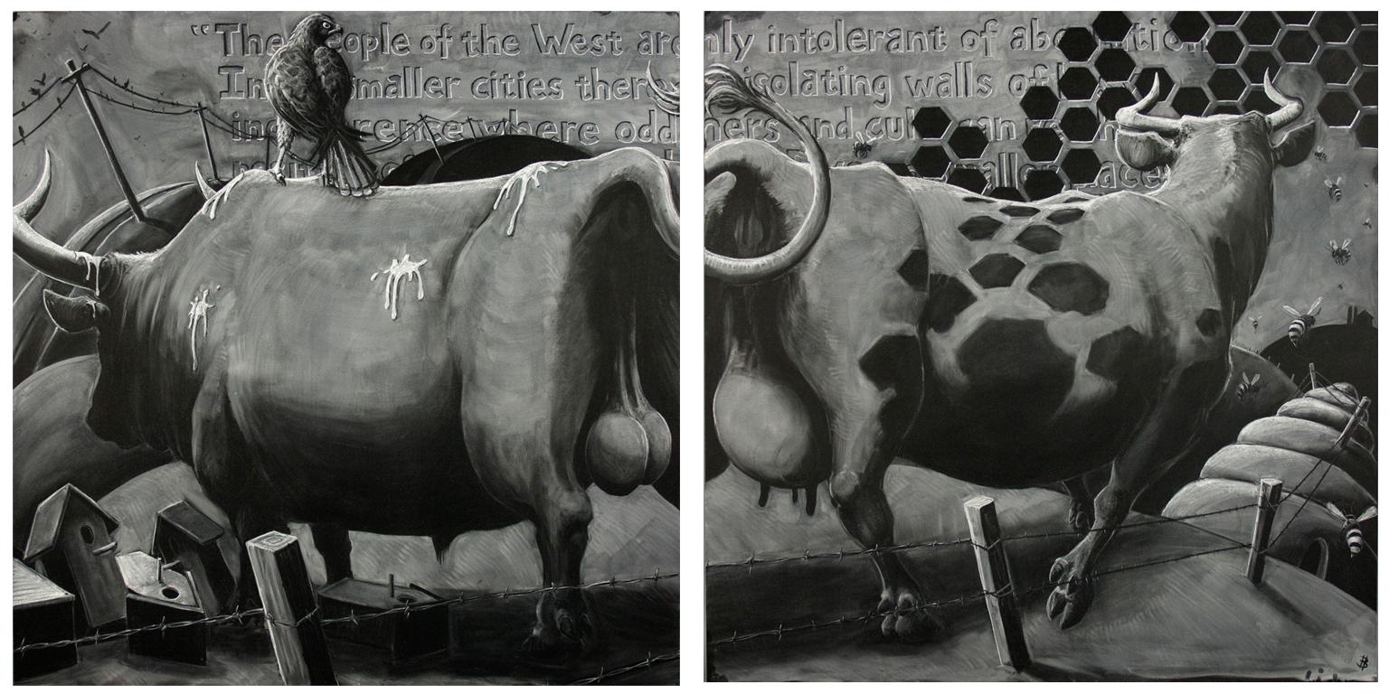 "Benton's Escape - chalk on two 48""x48"" blackboard panels"