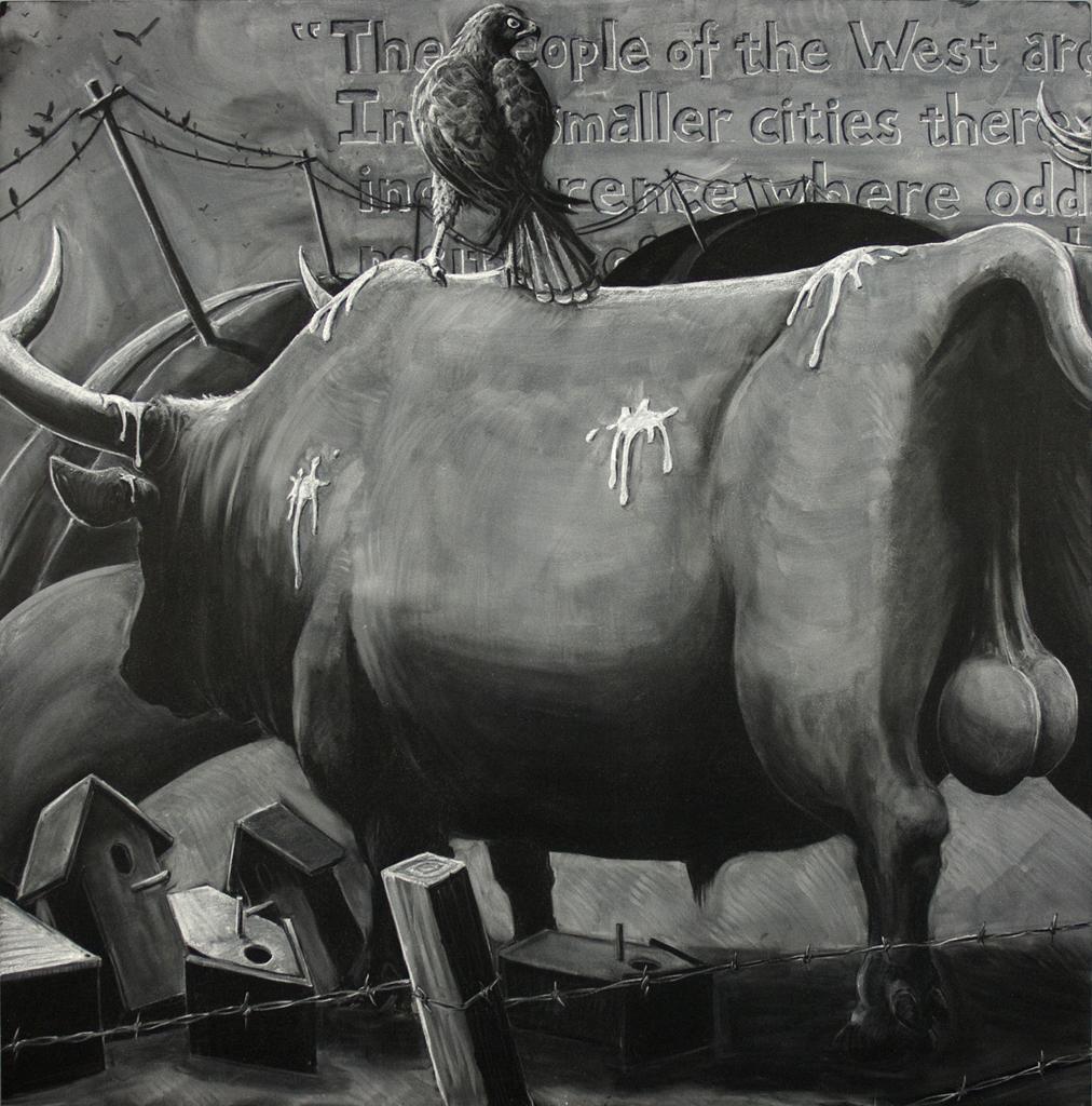 "Benton's Escape (left panel detail) - chalk on two 48""x48"" blackboard panels"