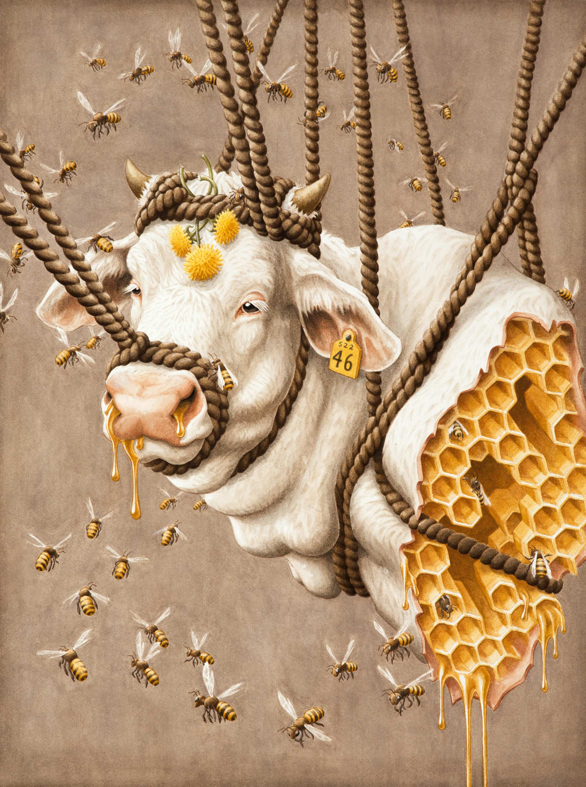 """Golden - pencil and acrylic on illustration board, 18""""x24"""""""