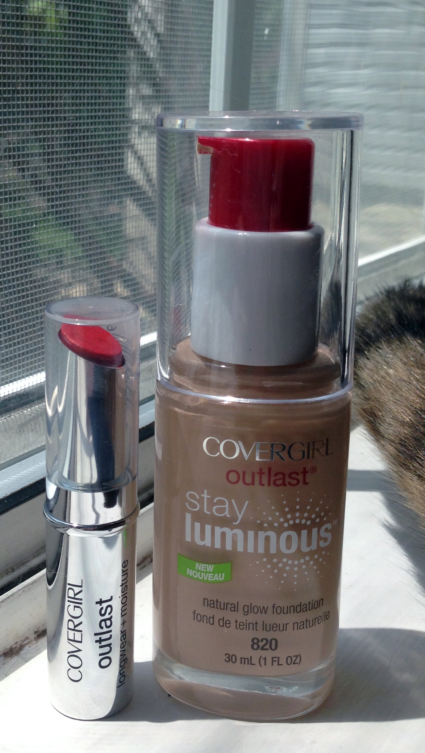 COVERGIRL Outlast Lipstick & Stay Luminous Foundation (with a Lunker tail on the side)