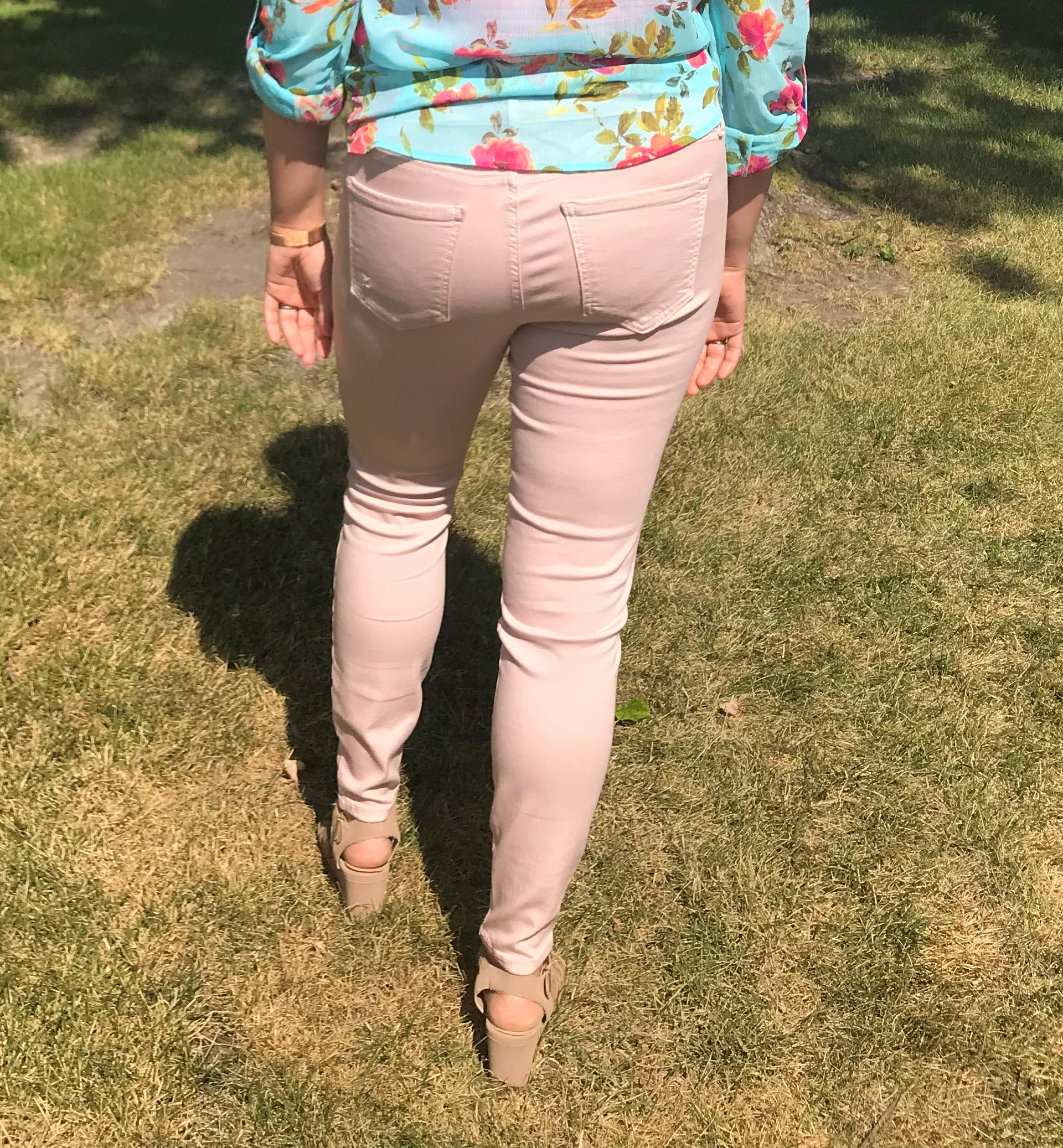 Top:  Lucida Floral Blouse  Pants:  Connie Slim Fit Ankle Skinny in Rose Shoes: Gianni Bernini Wedges (old) Watch:  Olivia Butron Enchanted Garden Sunglasses: Kate Spade (old)