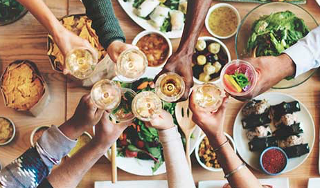 Enjoy whole-food, plant-based feasts with your new group of friends!