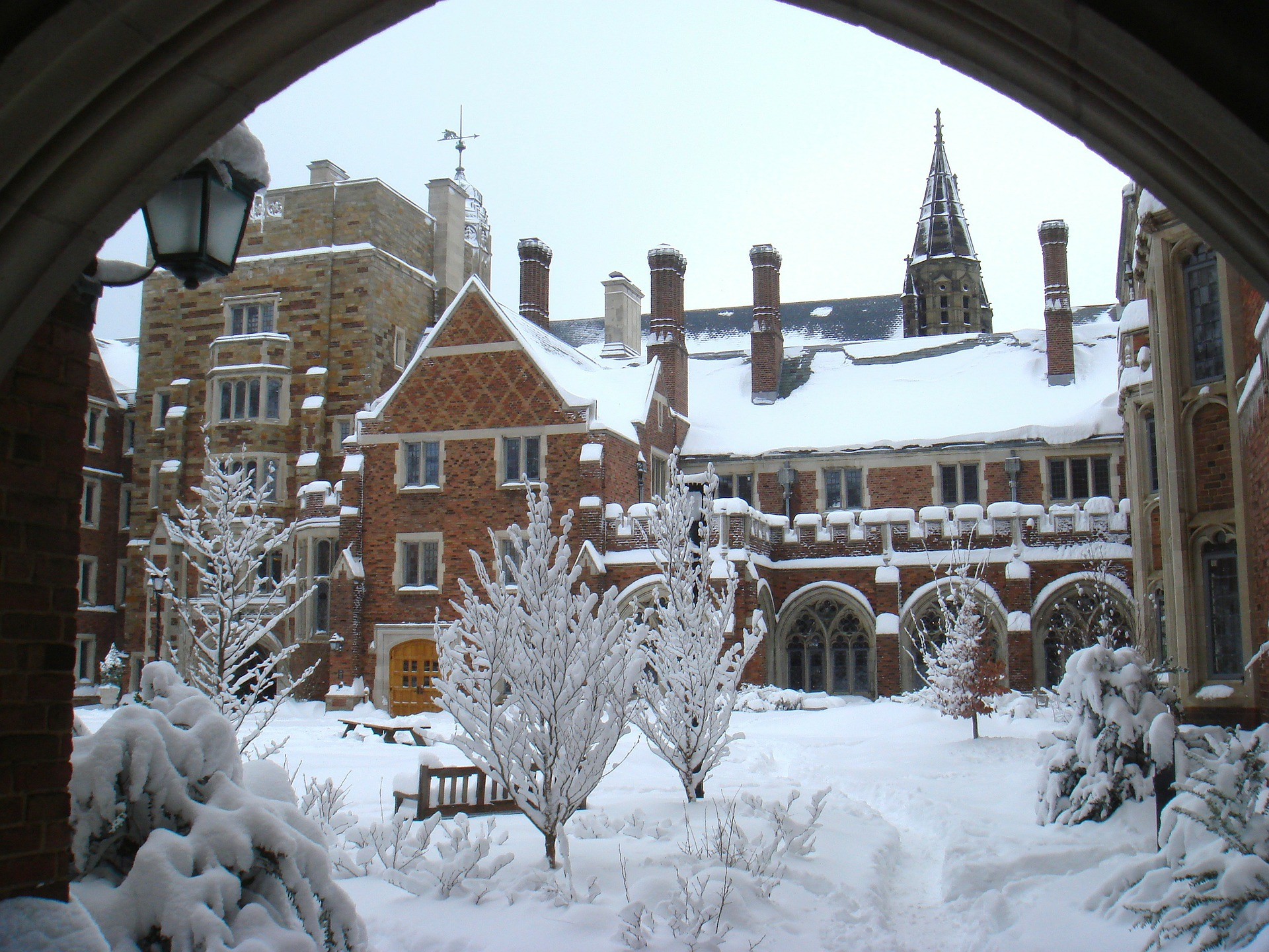 yale campus in winter