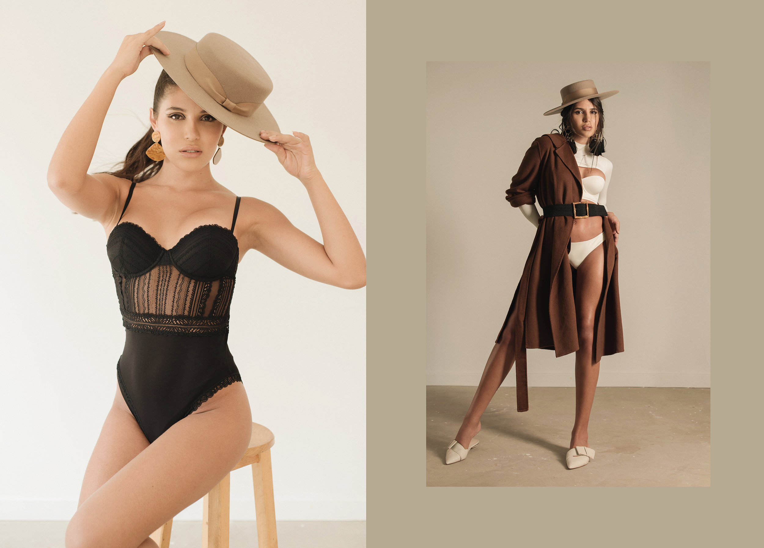 LEFT: Body. Oysho / Hat. María Elena Villamil / Earrings. Zara RIGHT: Swimsuit. Puntamar / Hat. María Elena Villamil / Earrings. Mercedes Salazar / Coat & shoes. Zara