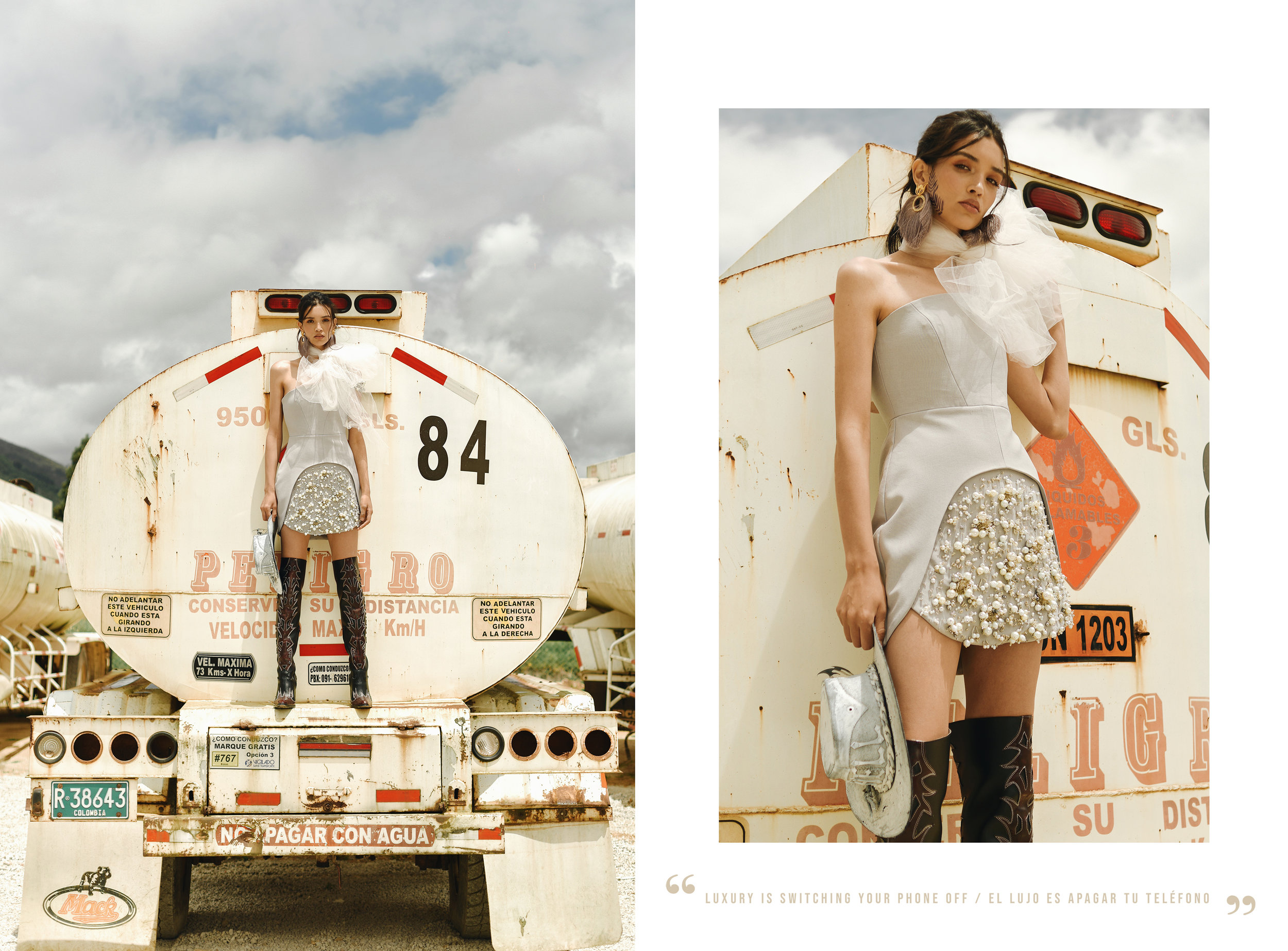 Dress. Luciana Balderrama at Casa Precis. / Earrings. Yajaira Ramírez / Hat & boots. Le Zapatiere