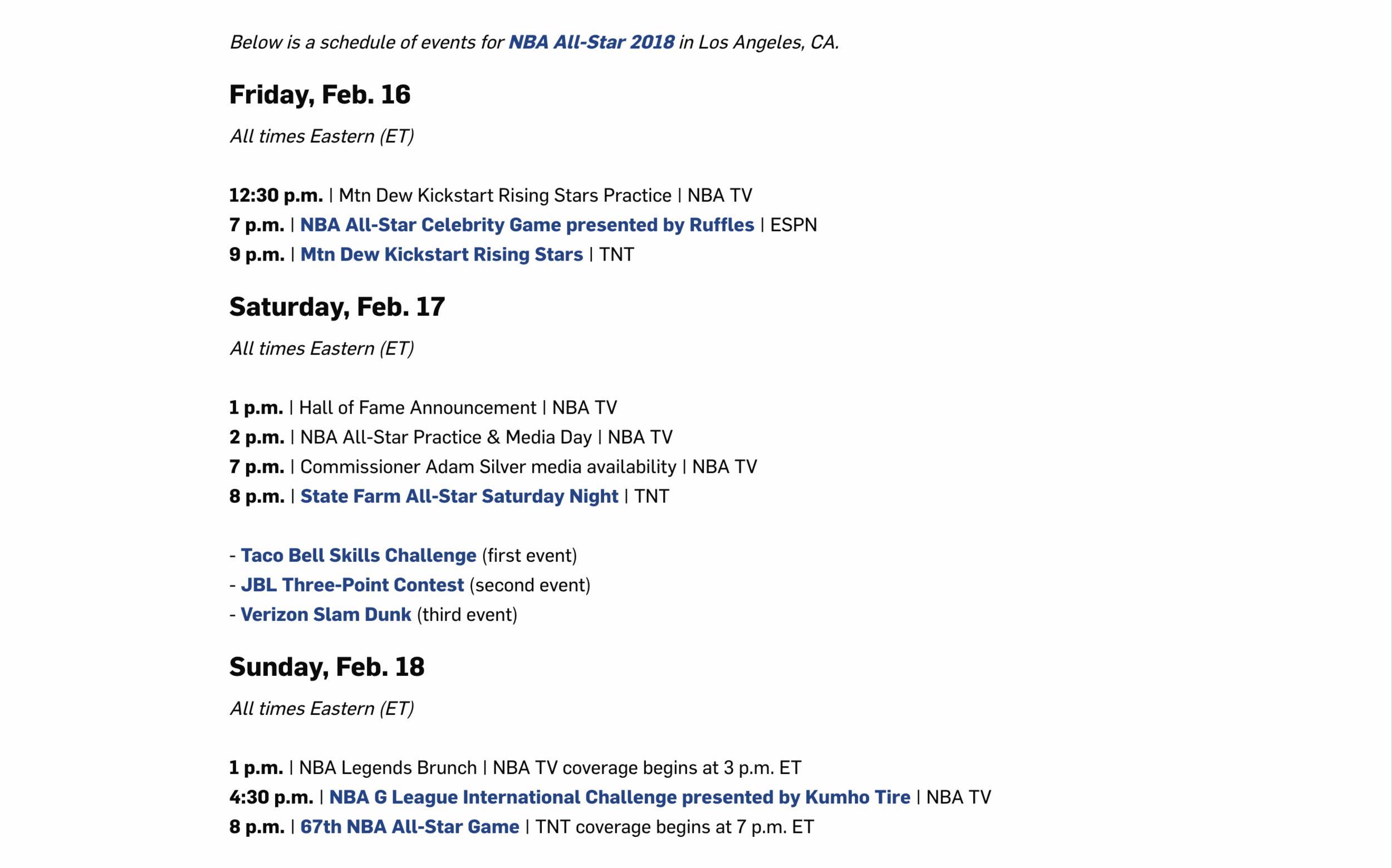 Schedule provided vi http://www.nba.com/allstar/2018/schedule