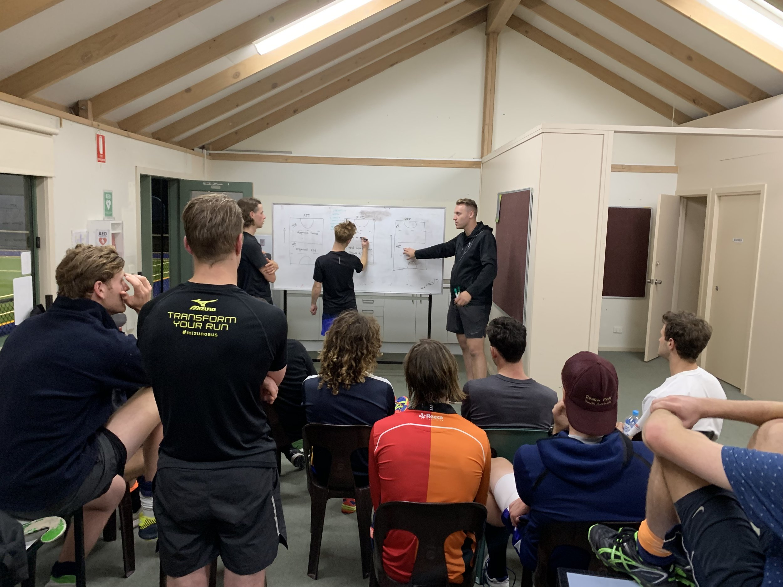 Team meeting post training on the road