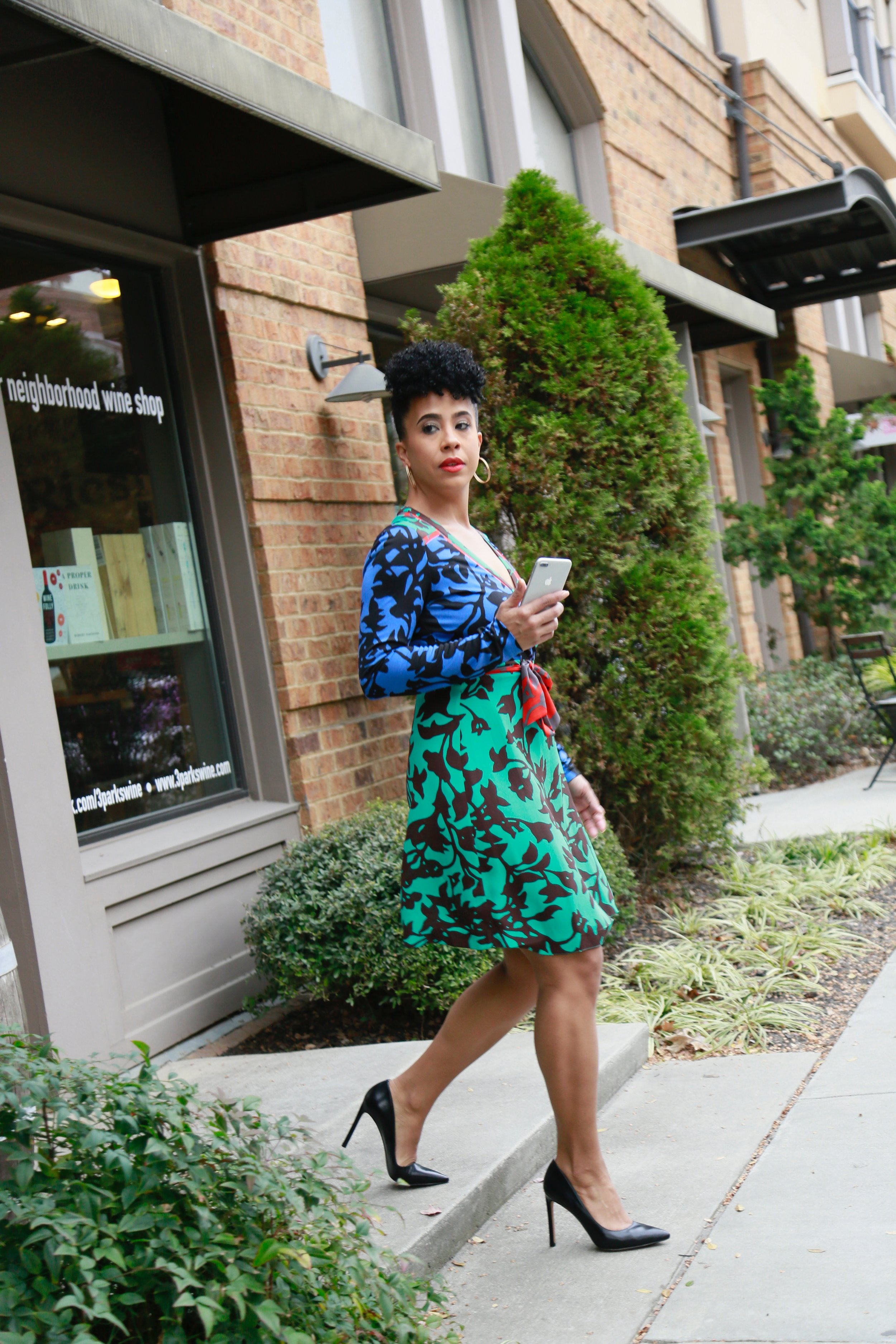 Dress:  Rent the Runway/DVF $80.00    Shoes:  Nine West $89.00