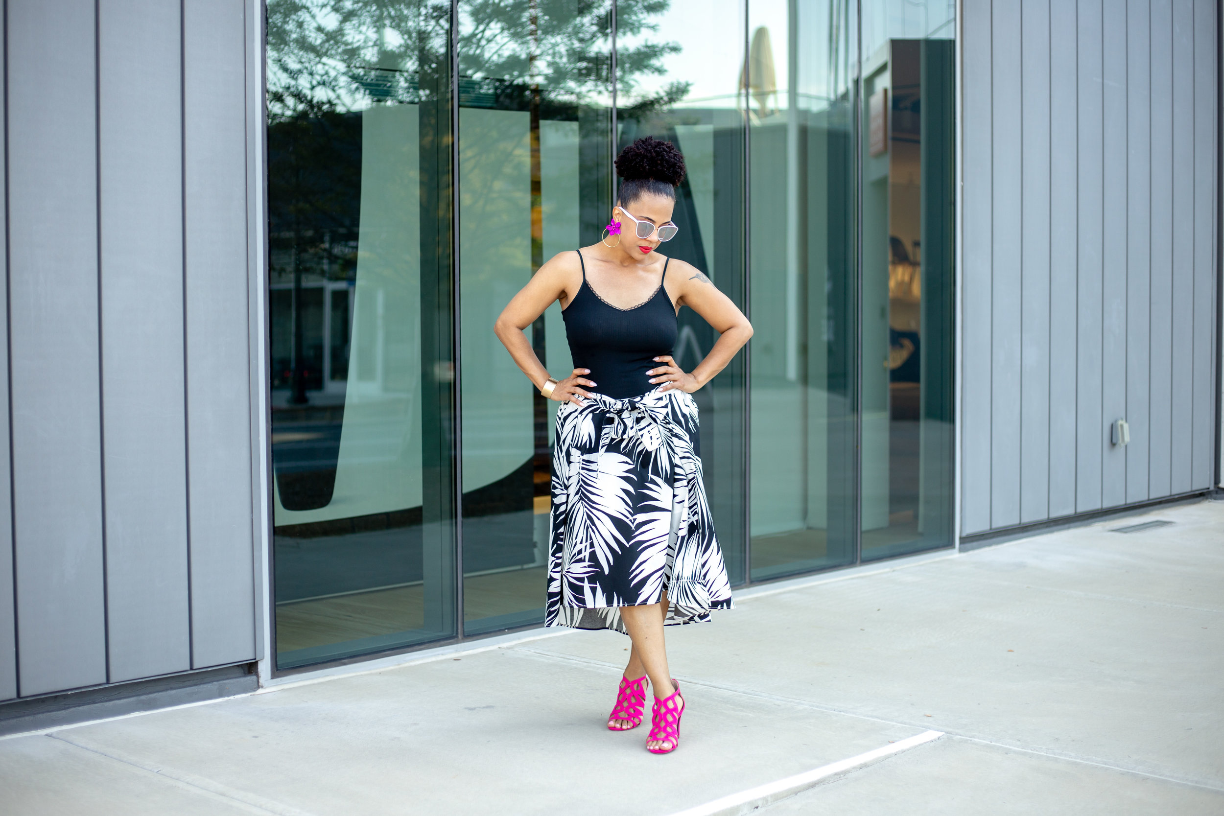 Palm Print Tie Front Midi Skirt.jpg