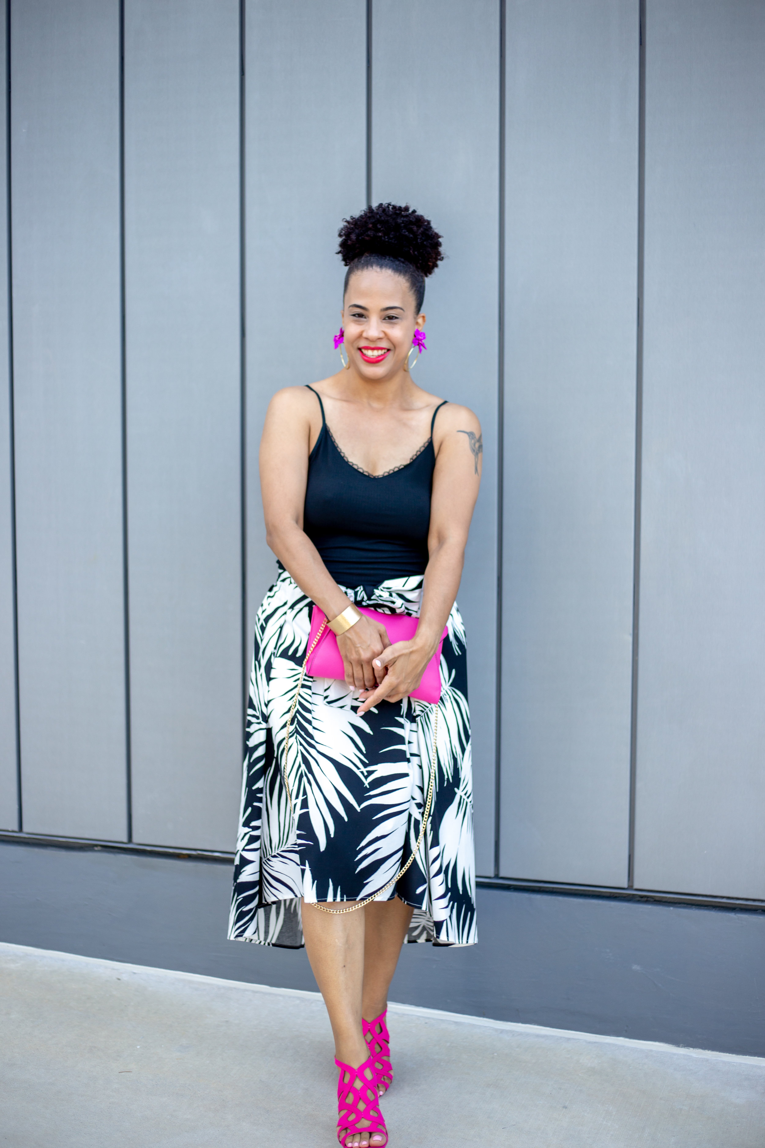 Women's Palm Print Tie Front Midi Skirt.jpg