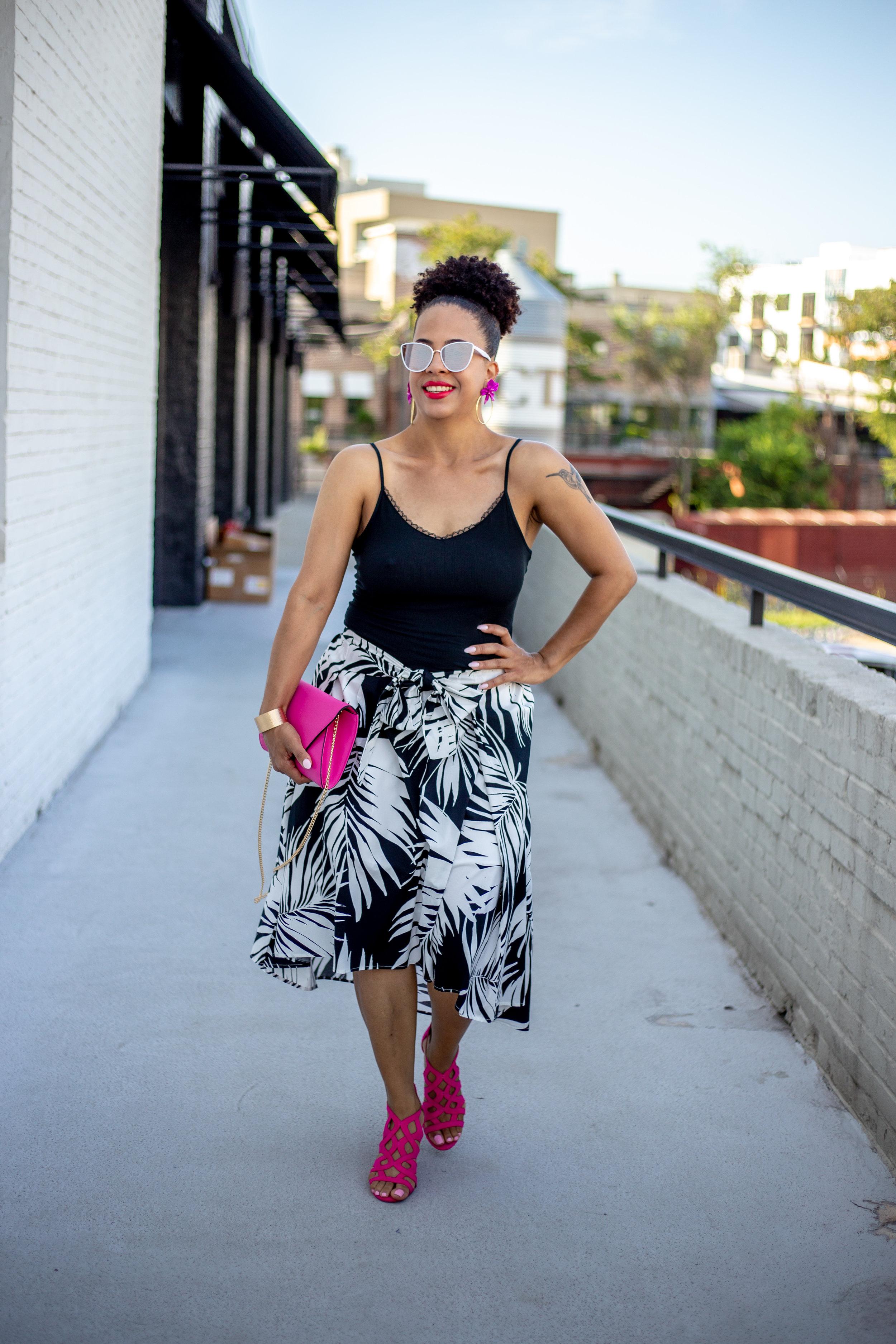 Black and White Palm Print Midi Skirt.jpg