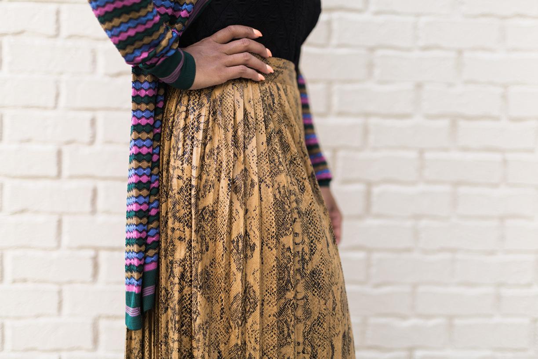 Snake Skin Pleated Skirt