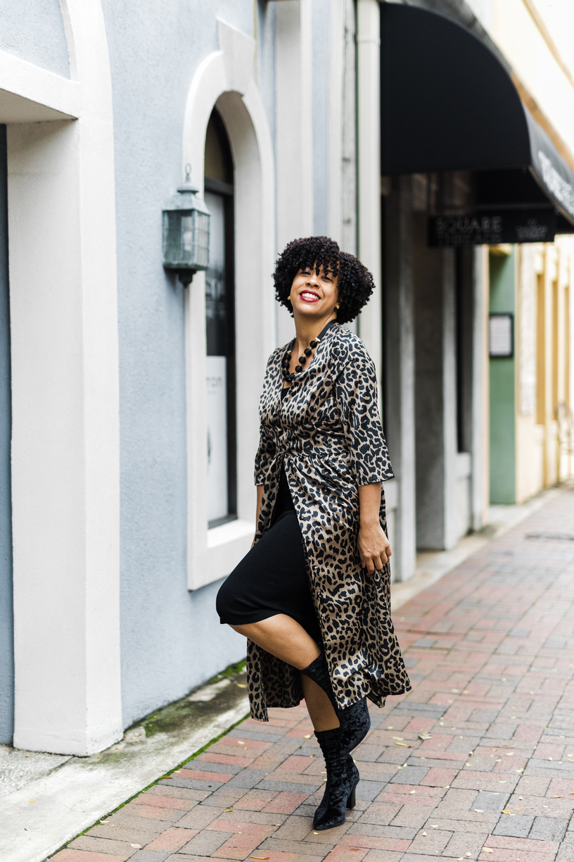 Satin Leopard Print Button Through Dress