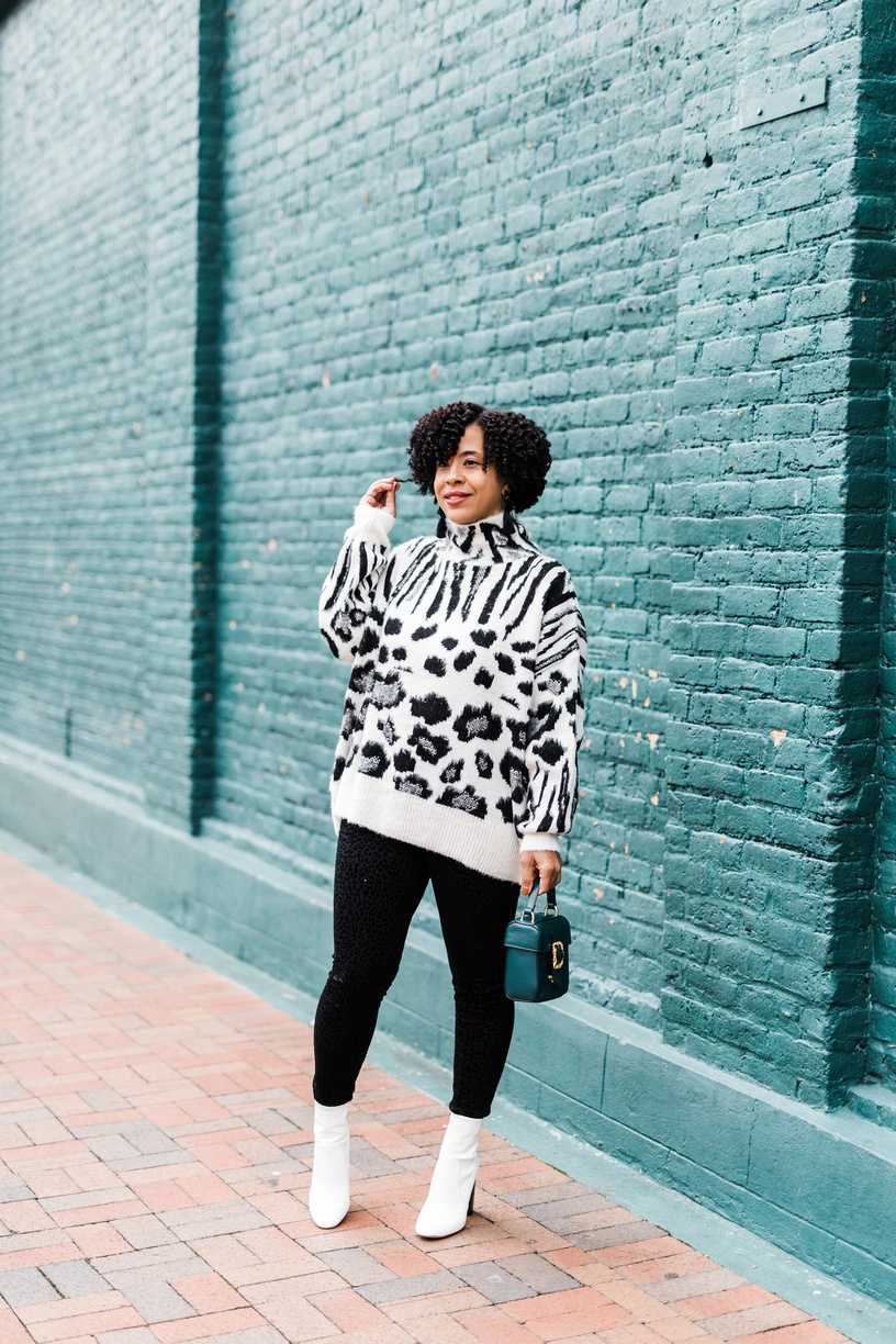 Mixed Animal Print Jumper Sweater