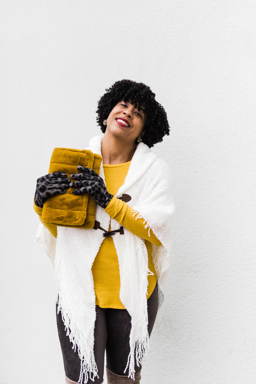 Fluffy Clutch with winter white sweater.jpg