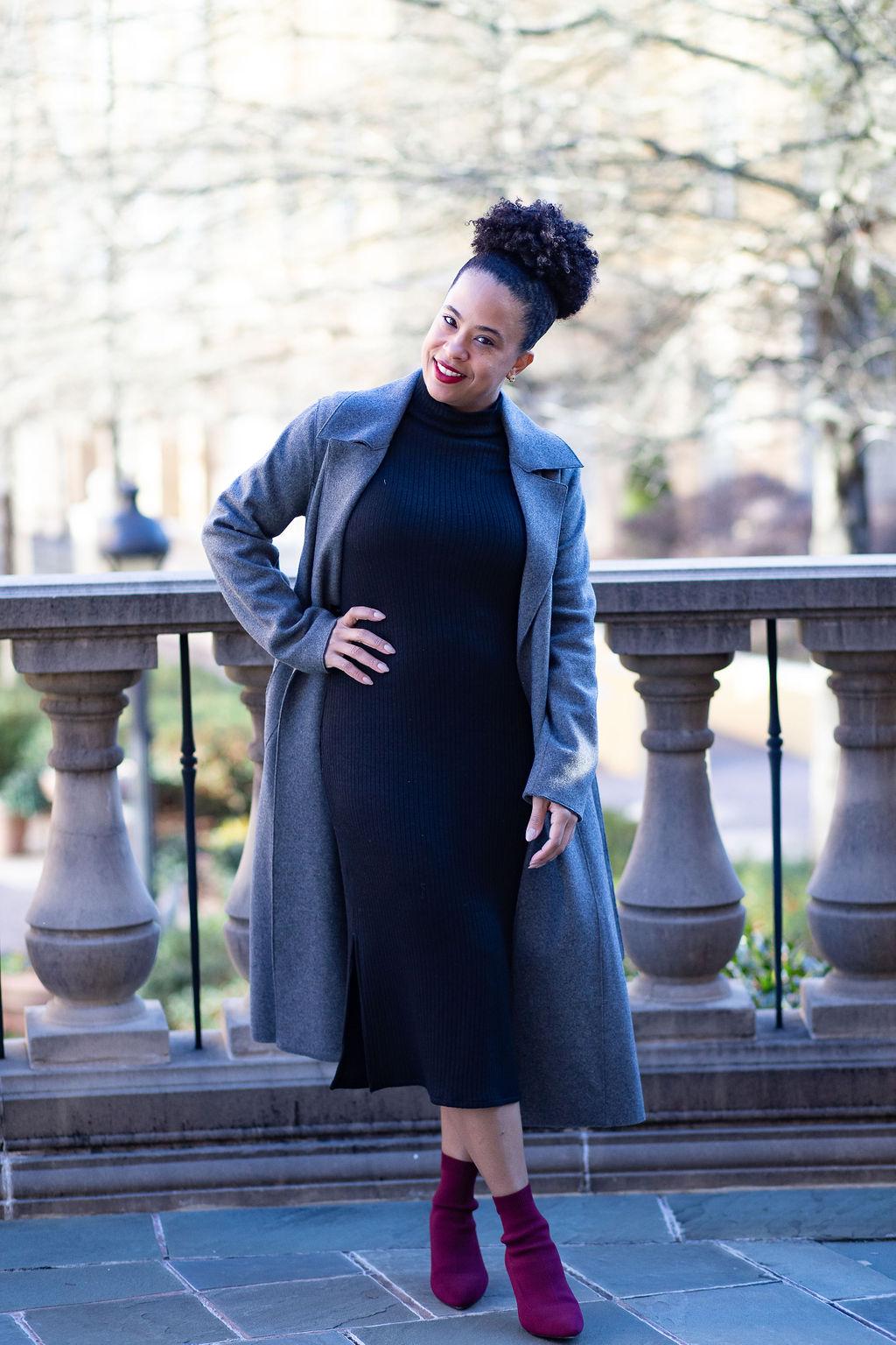 grey trench coat with black midi dress.jpg