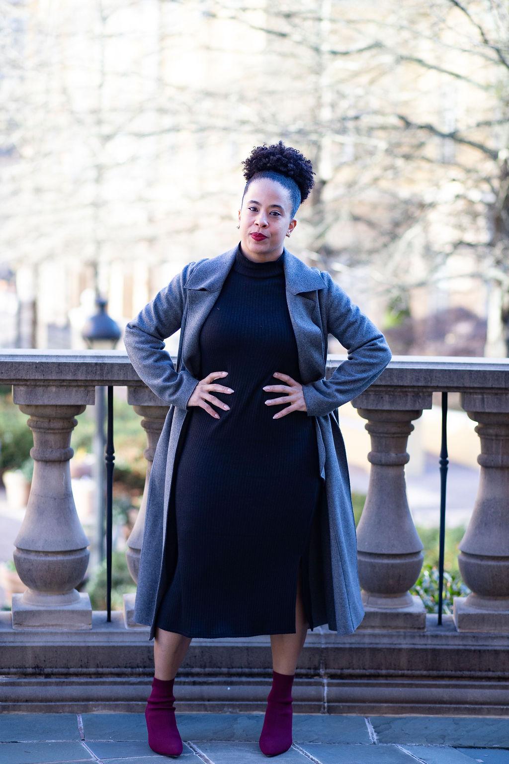 Midi dress and trench coat.jpg
