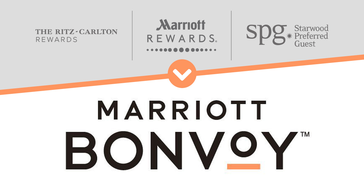 Visual branding for Marriott Bonvoy. What about the audio logo? Marriott Bonvoy combines Marriott Rewards, The Ritz-Carlton Rewards, and SPG, February 2019.