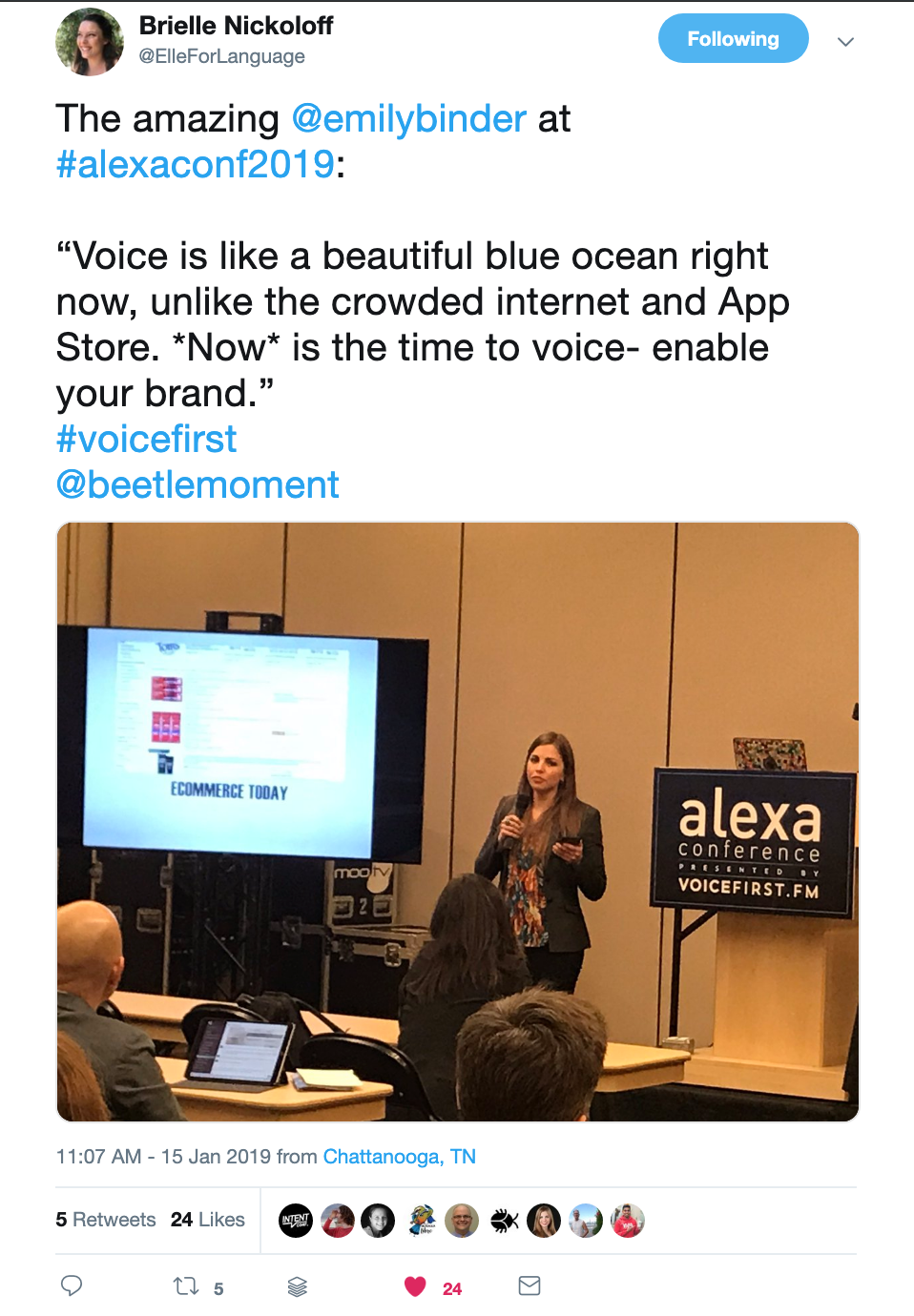 brielle-nickoloff-tweet-emily-binder-alexa-conference-voice-blue-ocean.png