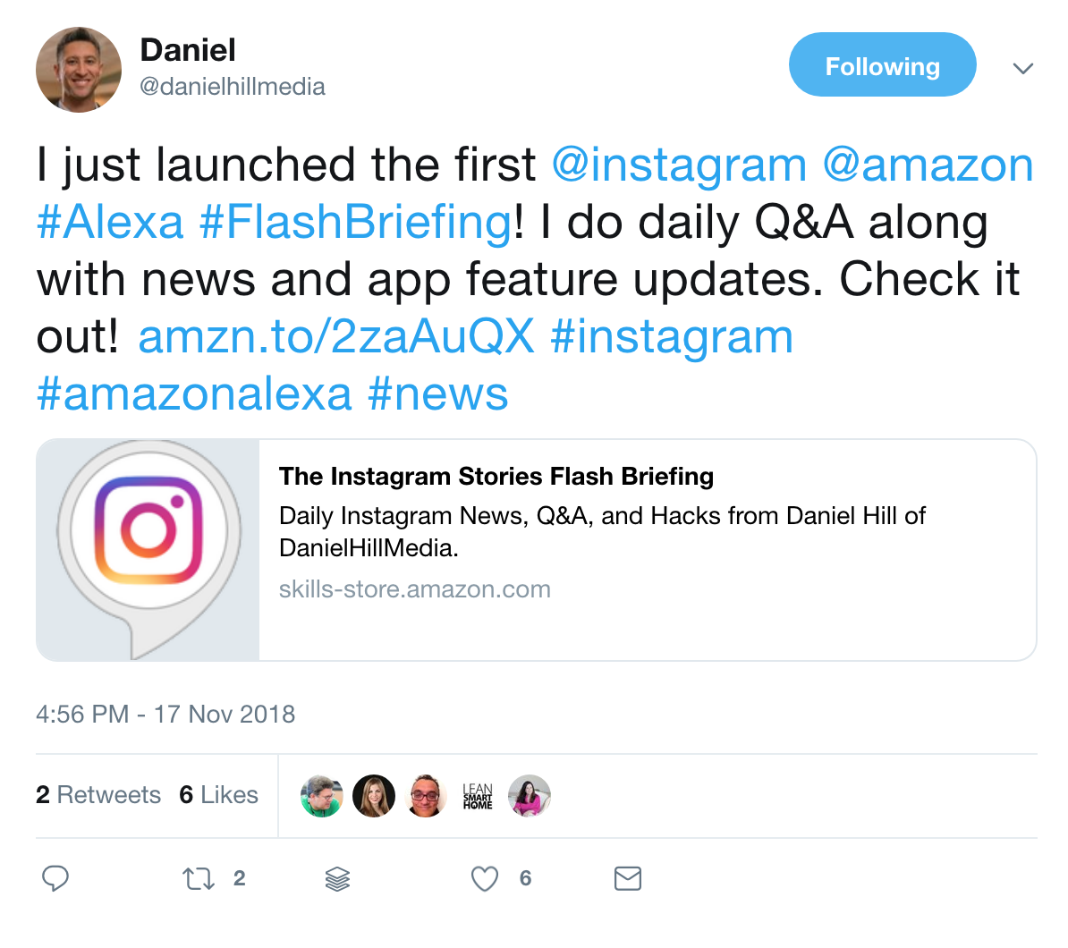 danielhillmedia-tweet-instagram-stories-flash-briefing-alexa.png