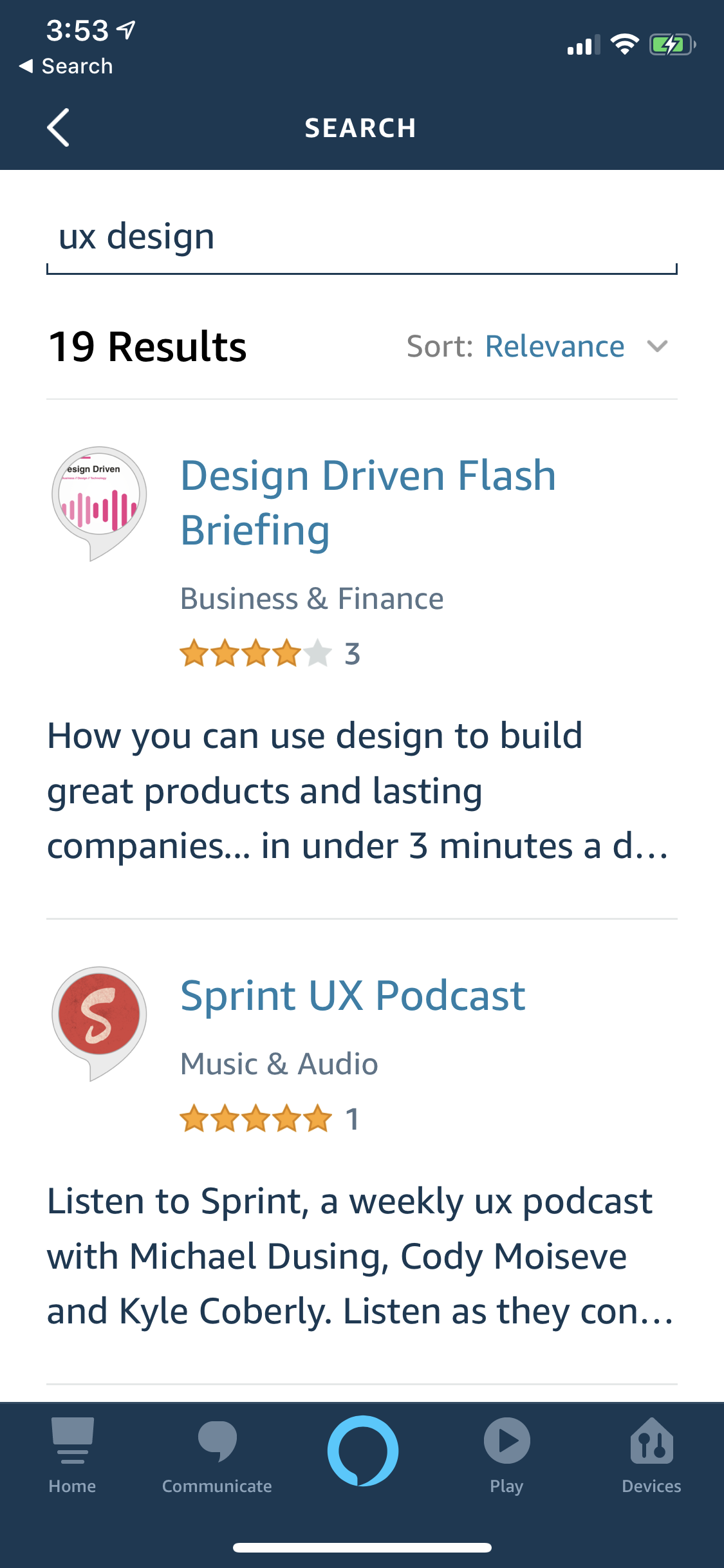 "Alexa Skills search ranking in app for ""UX design"" keywords - Nine Labs Flash Briefing"