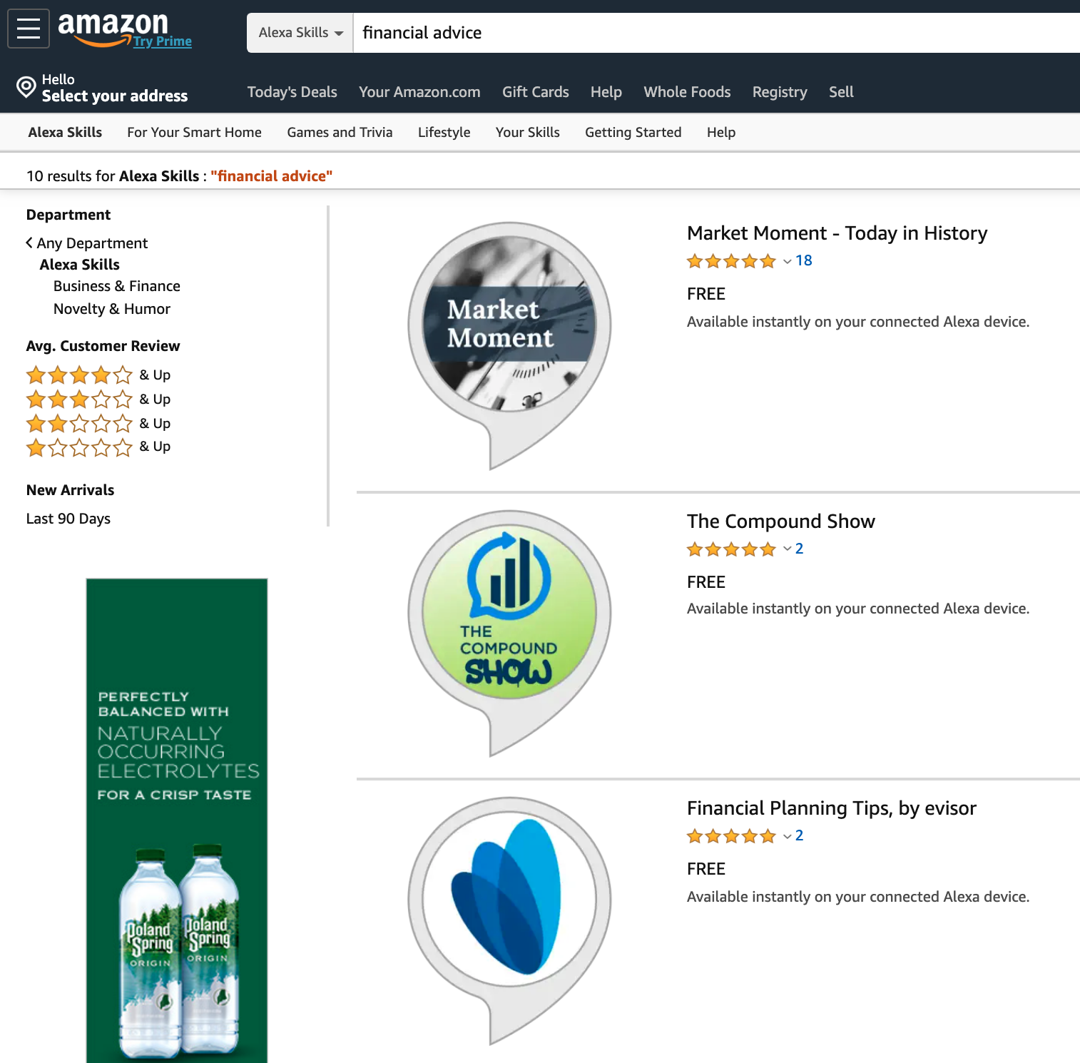 """Amazon.com's SERP (Search Engine Result Page) for Alexa Skills has 10 results for search term """"financial advice"""". (The top two results happen to be the skills we built for  Ritholtz Wealth Management - case study .)"""