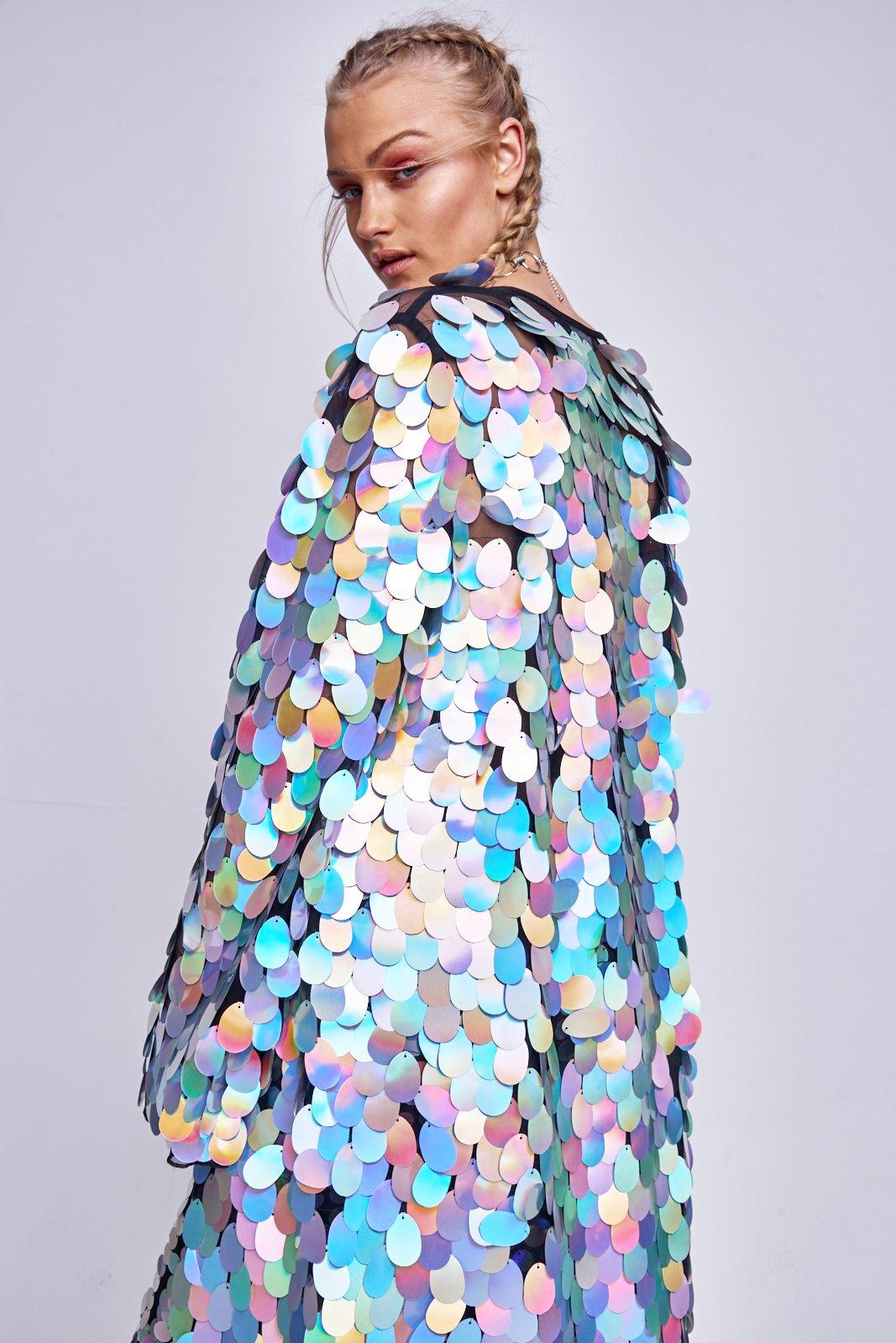 Holographic Sequin Maxi Kimono
