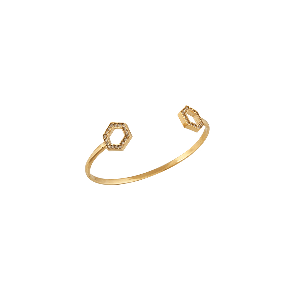 Gold Honeycomb Cuff Bracelet