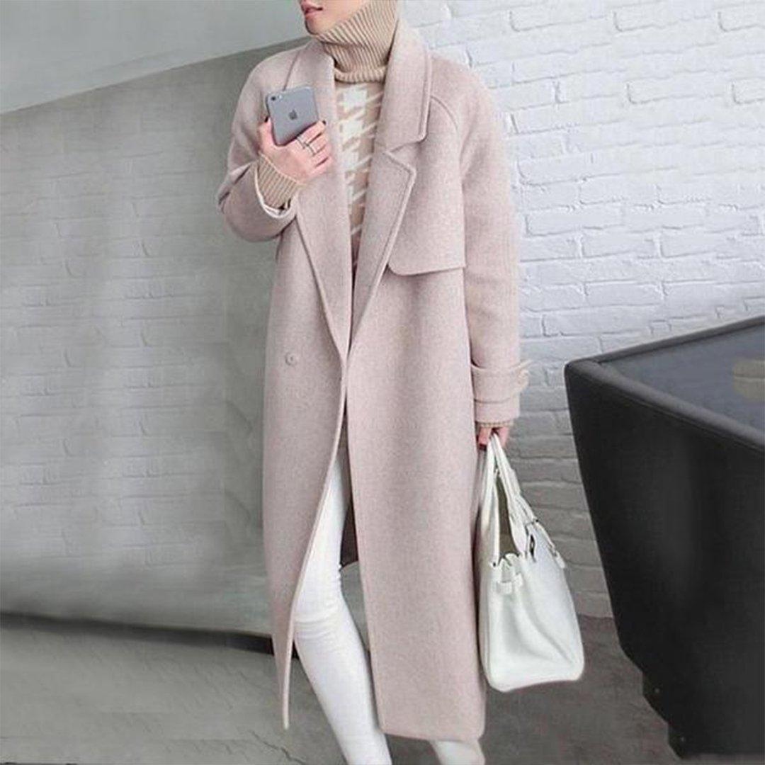 Notch Lapel Belt Plain Coat