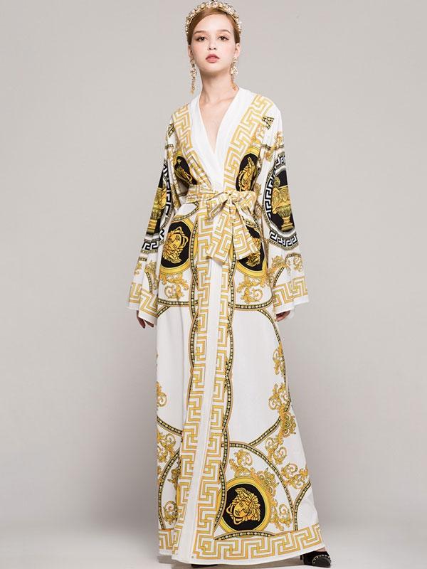 Block Sashes V-Neck Long Sleeves Long Dresses