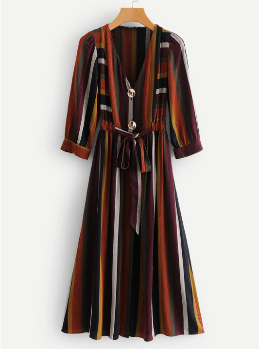Multi-Stripe Self Tie Dress