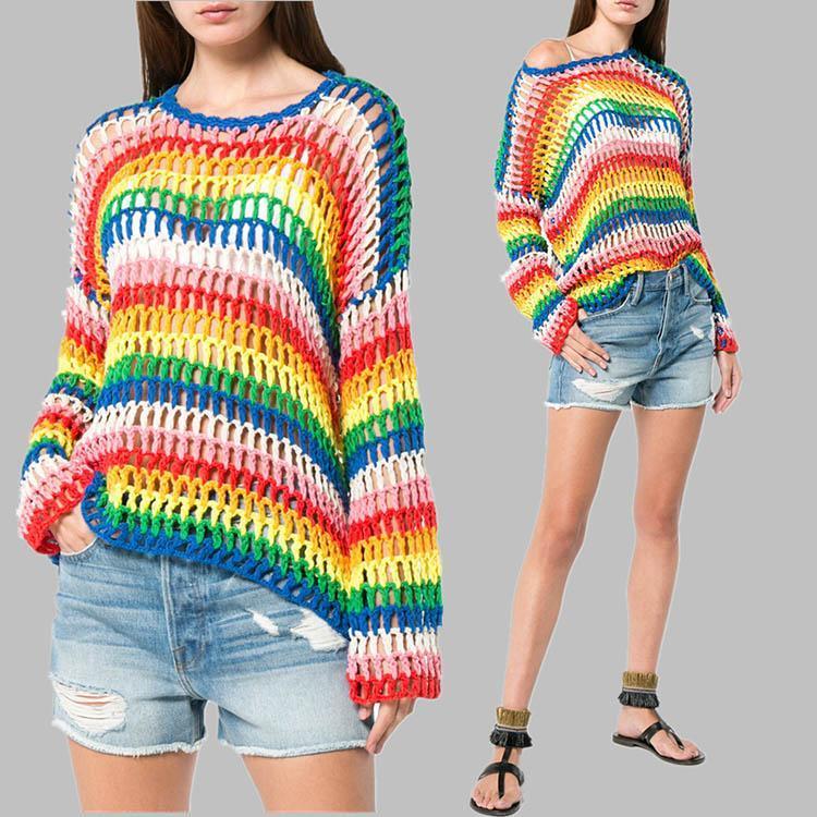 Rainbow Handwoven Sweater