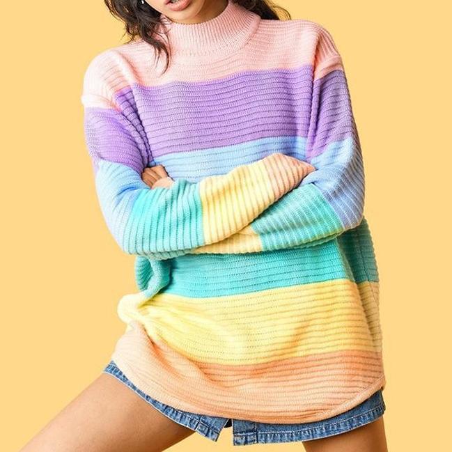 Rainbow Turtle Neck Sweaters