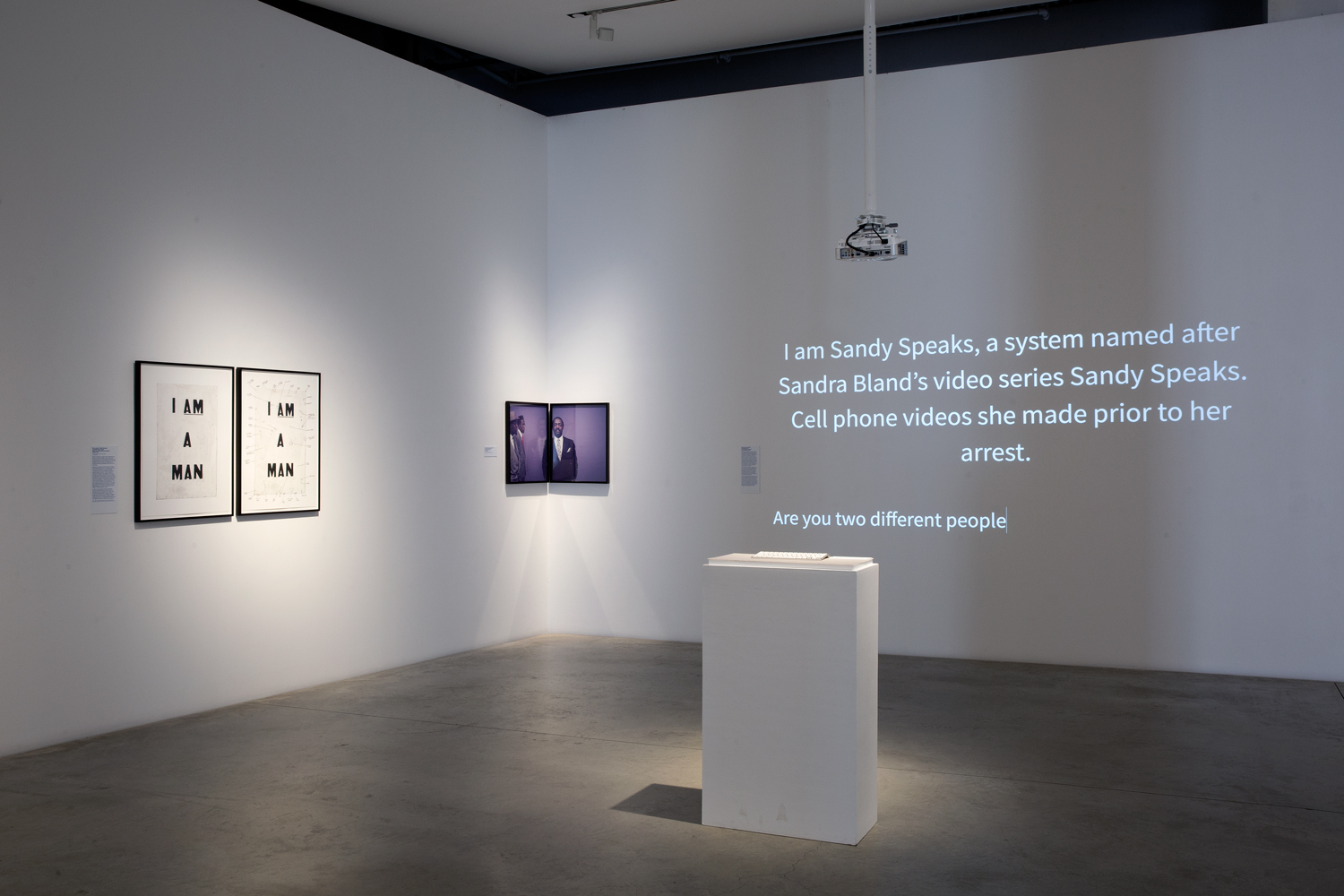 Sandy Speaks, 2017  AI chat platform, installation view ( Memory is a Tough Place,  Anna-Maria and Stephen Kellen Gallery, NY)