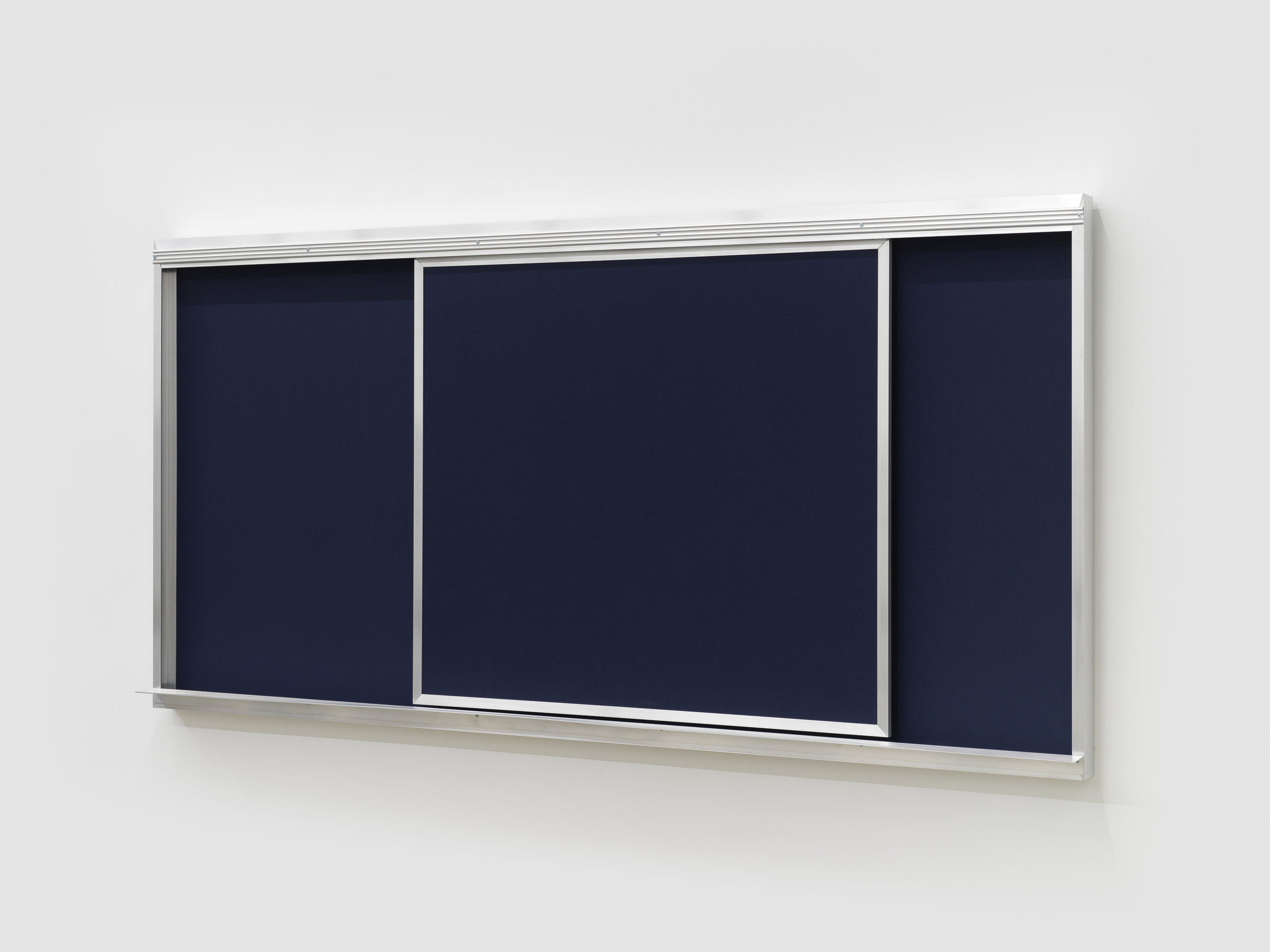 blue are the words i say and what i think, 1,  2019, aluminum, wood, hardware, navy blue fabric 48 x 96 x 6 in (121.9 x 243.8 x 15.2 cm)
