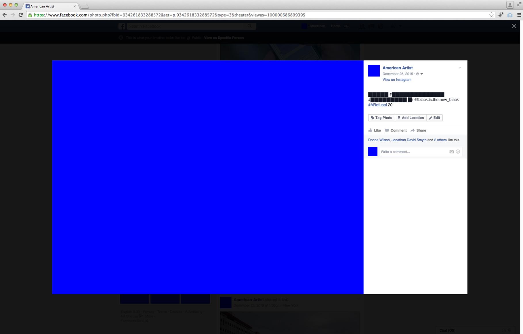 A Refusal,  2015-2016 Online Performance (screen capture)