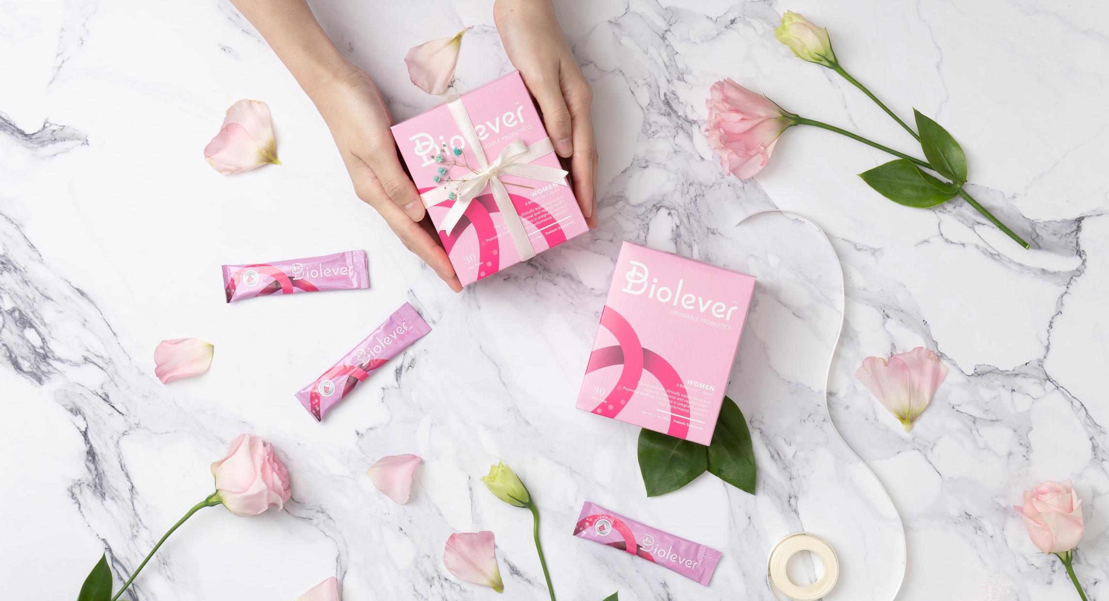 Biolever women probiotics with pink rose international women day gift ideas