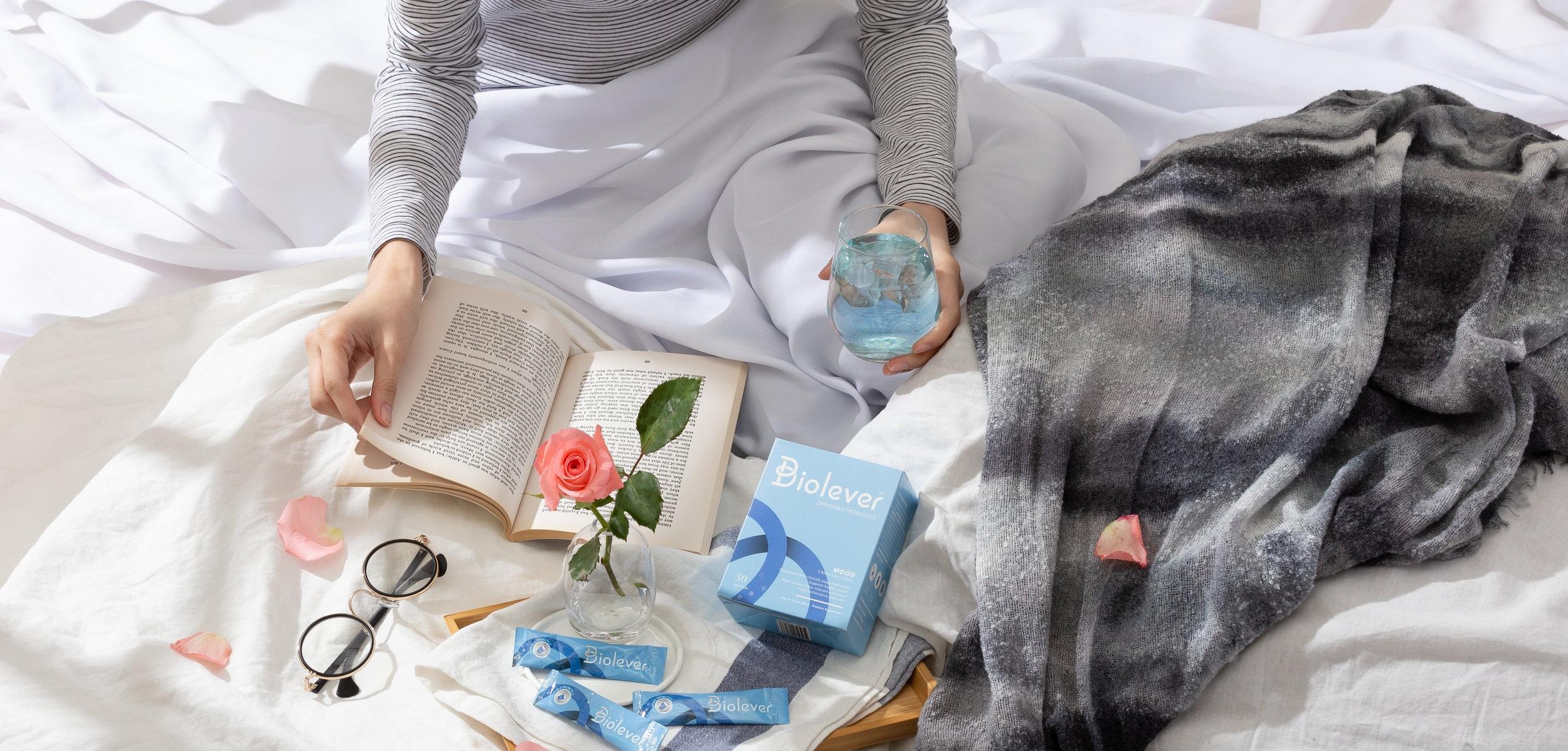 biolever+mood+probiotics+-+woman+read+book+sleep+emotion