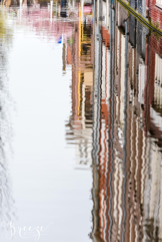 Delft Canal Reflection, Travel Photography, Bernadette Meyers