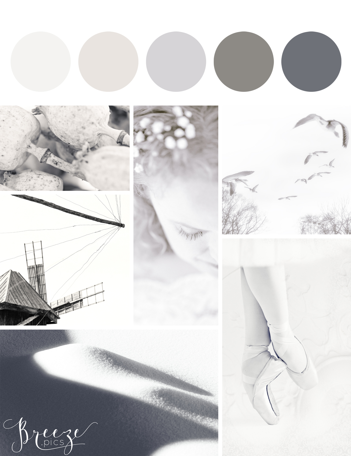 Grey mood board, creating a sanctuary at home, Breeze Pics