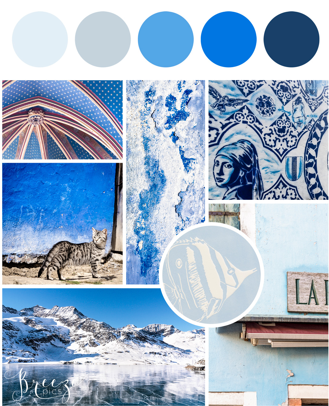 Blue mood board, creating a sanctuary at home, Breeze Pics