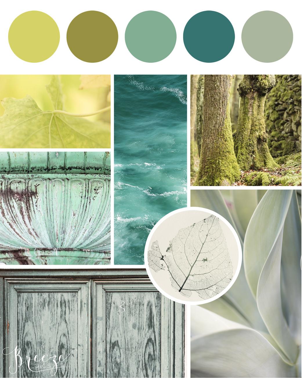 Green mood board, creating a sanctuary at home, Breeze Pics