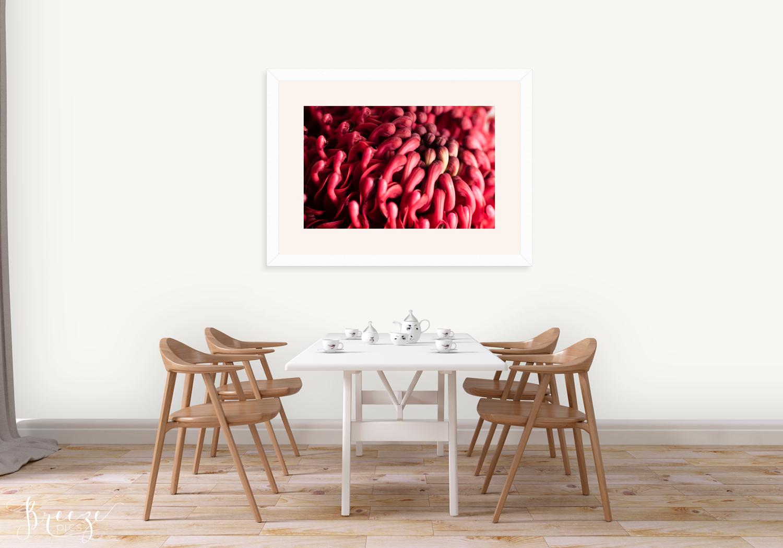 Red fine art nature photograph, home decor prints, Breeze pics
